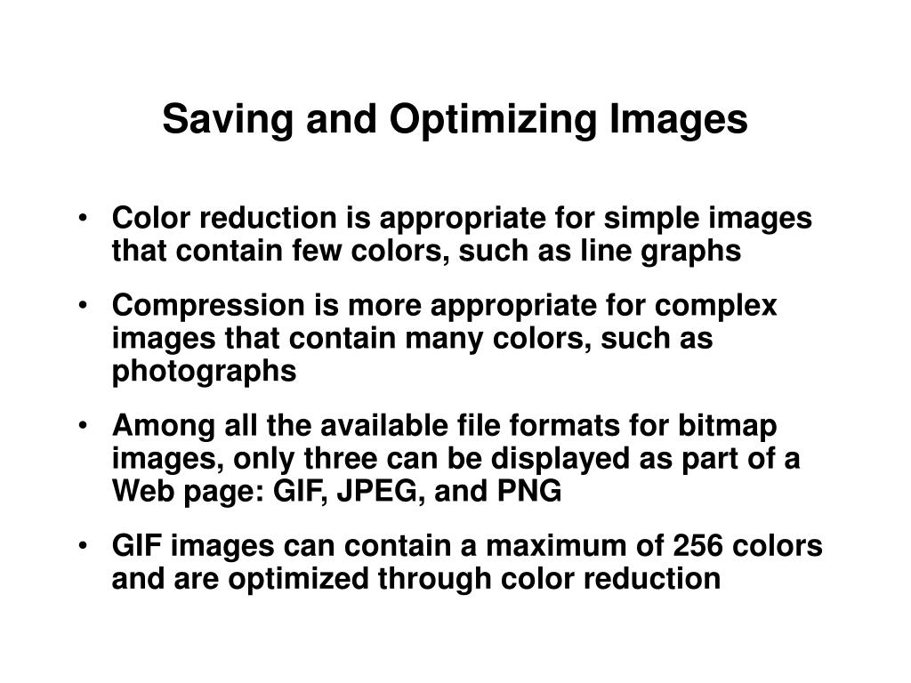 Saving and Optimizing Images