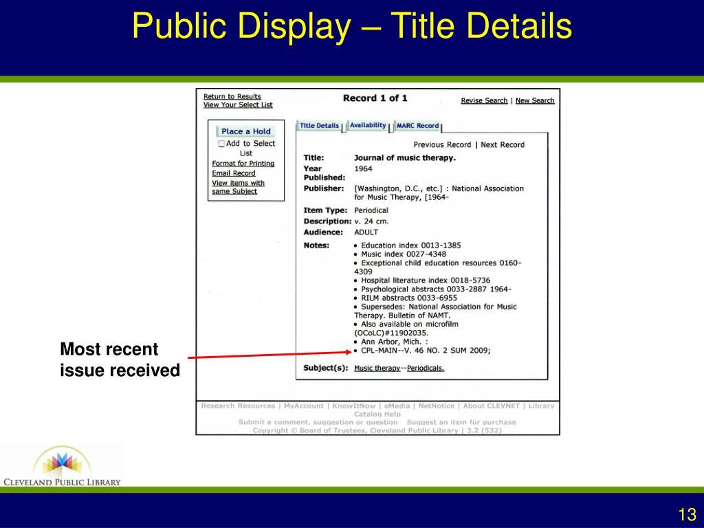 Public Display – Title Details