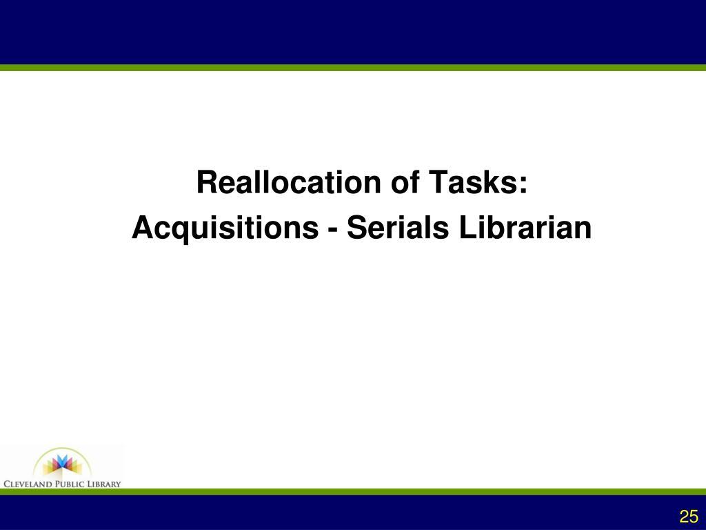 Reallocation of Tasks: