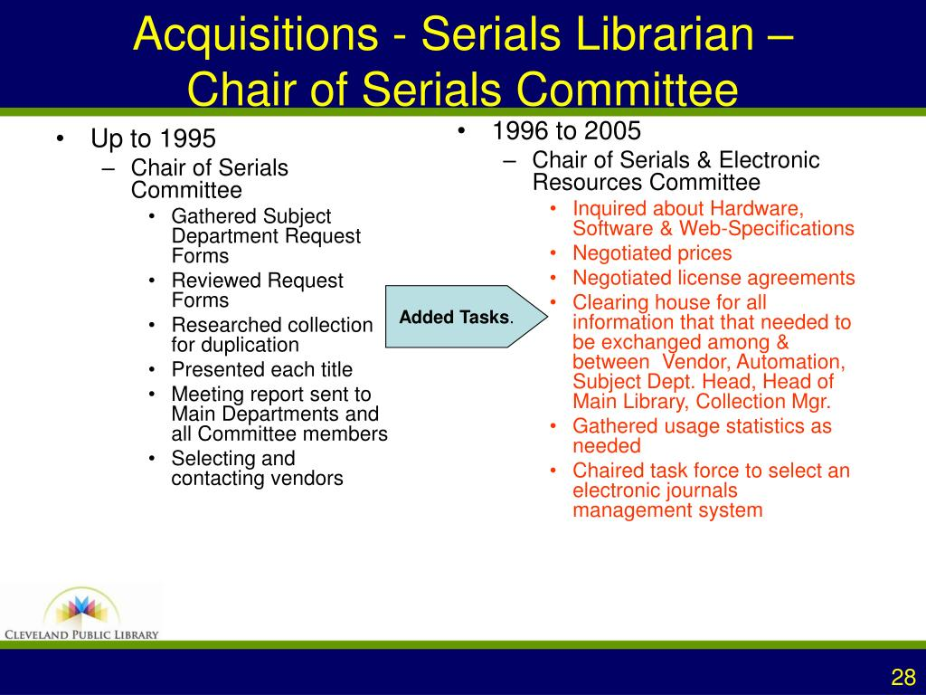 Acquisitions - Serials Librarian –            Chair of Serials Committee