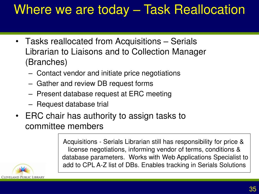 Where we are today – Task Reallocation