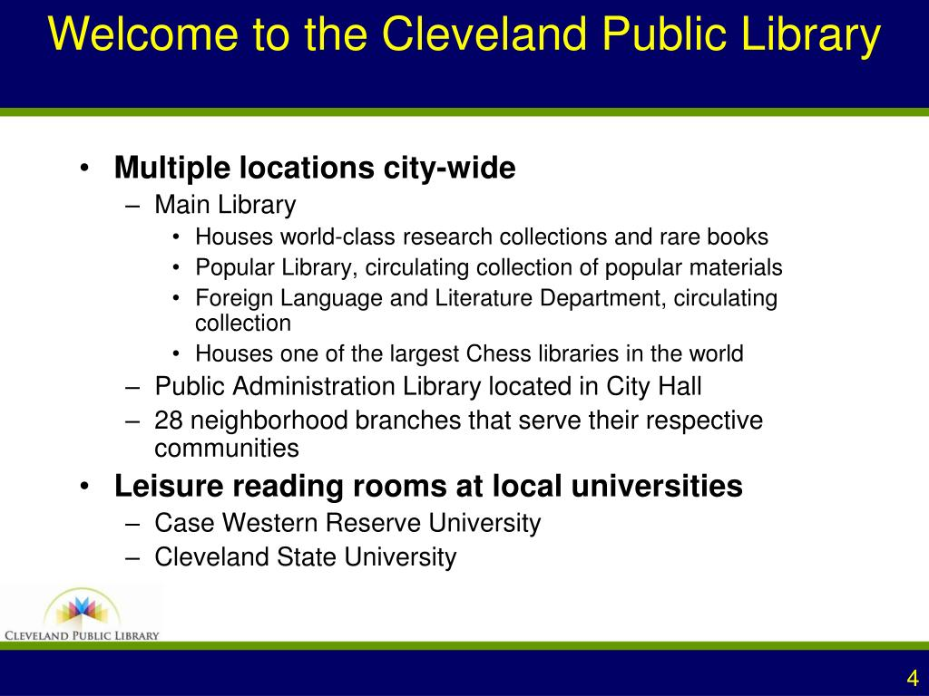 Welcome to the Cleveland Public Library