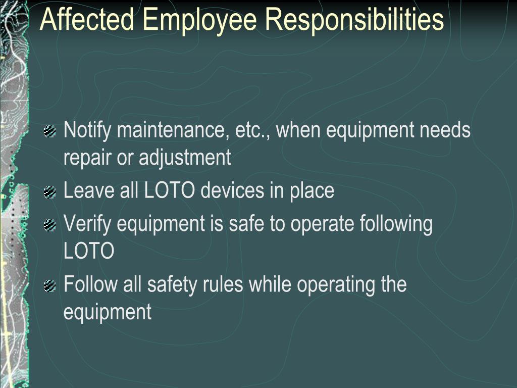 Affected Employee Responsibilities