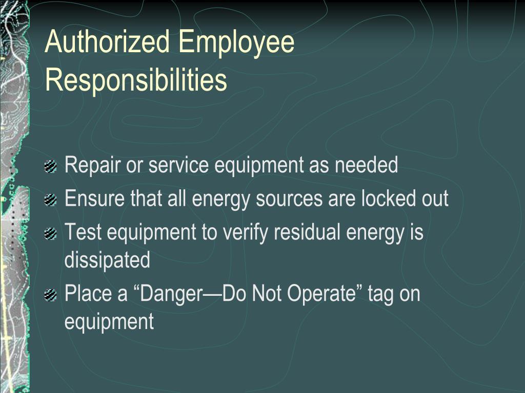 Authorized Employee Responsibilities
