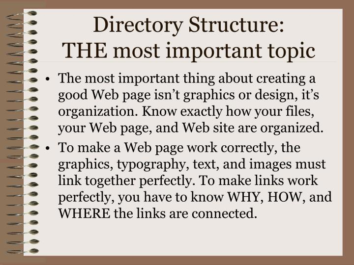 Directory structure the most important topic