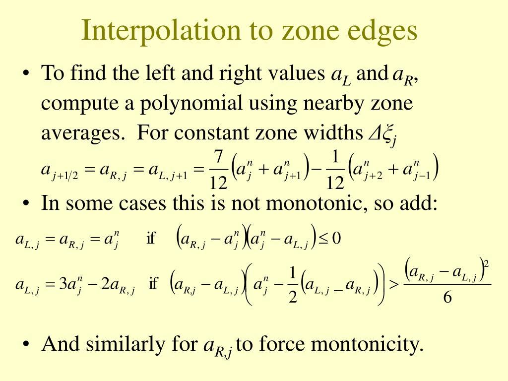Interpolation to zone edges