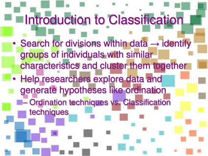 Introduction to classification