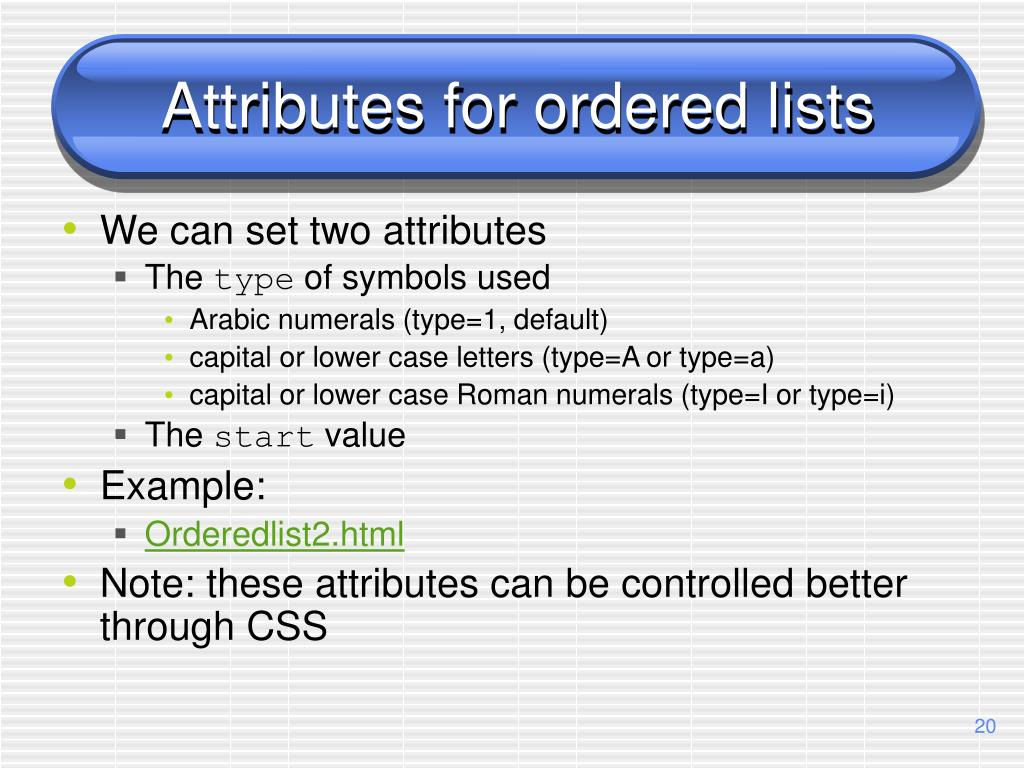 Attributes for ordered lists