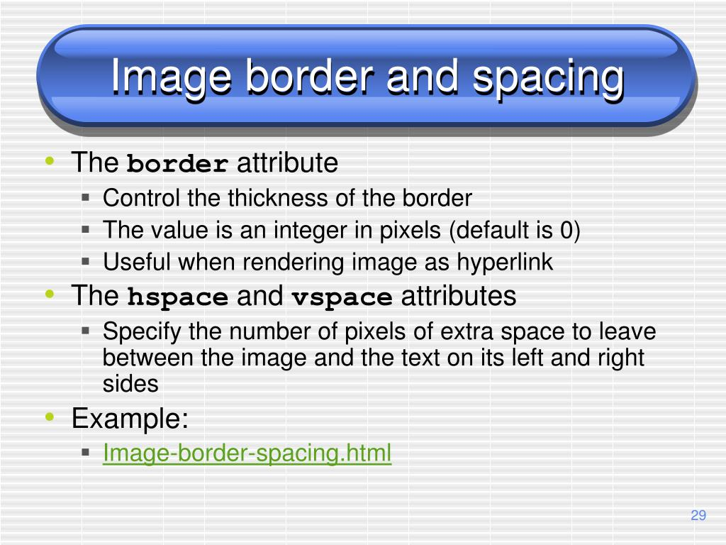 Image border and spacing