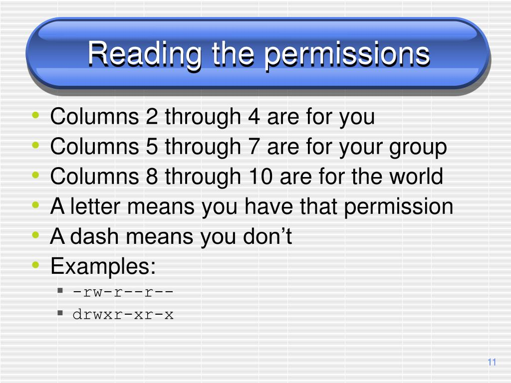 Reading the permissions