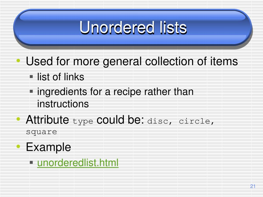 Unordered lists