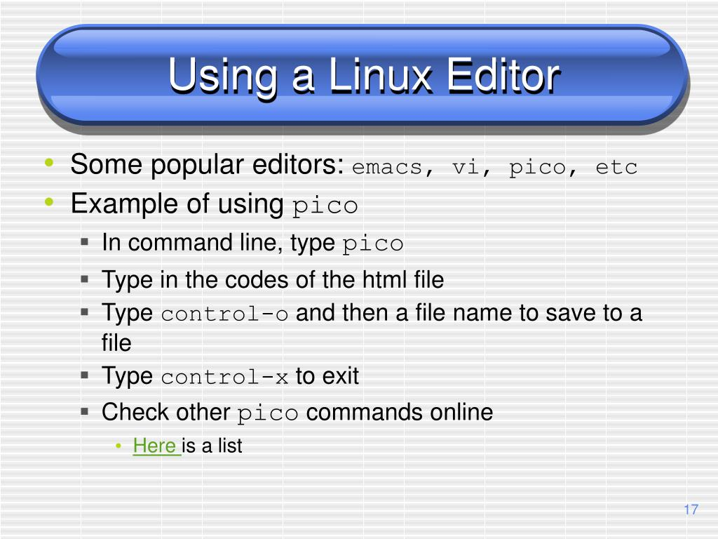 Using a Linux Editor