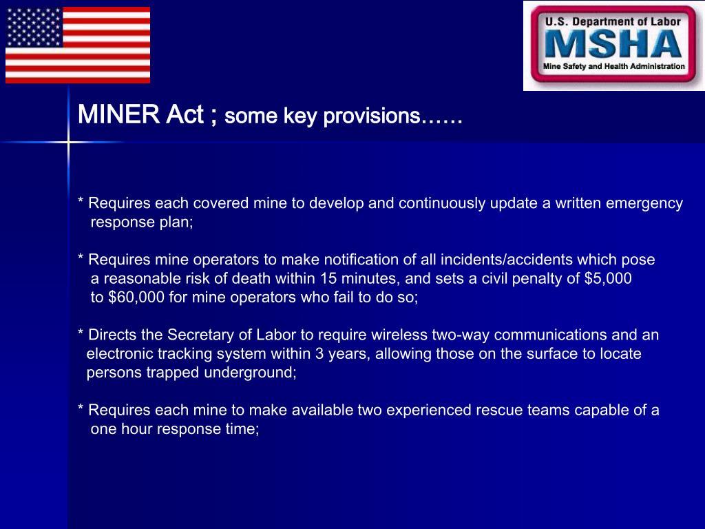 MINER Act ;