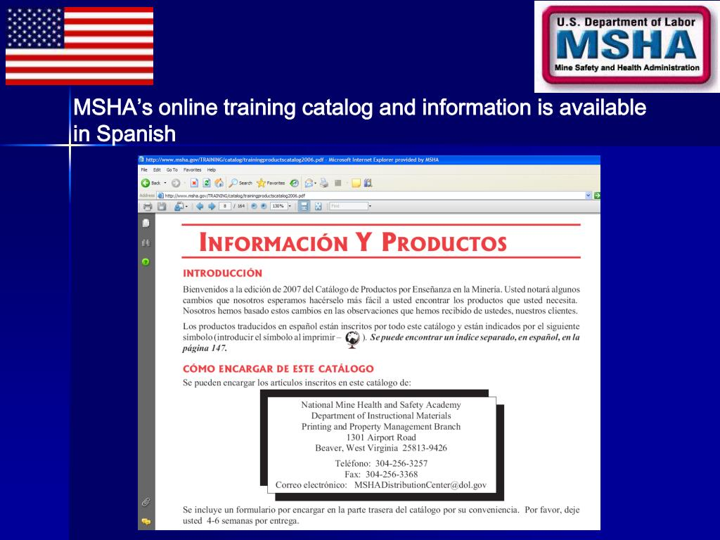 MSHA's online training catalog and information is available