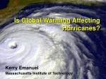 is global warming affecting hurricanes