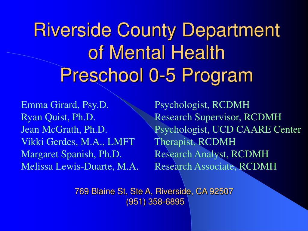 Riverside County Department of Mental Health