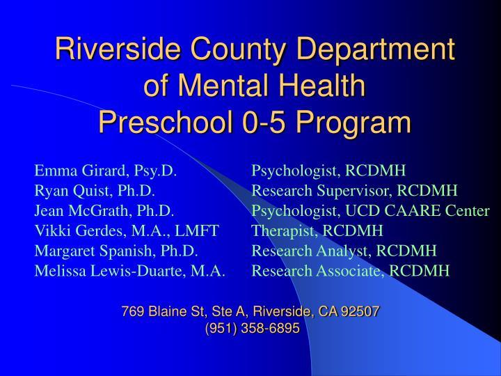 Riverside county department of mental health preschool 0 5 program