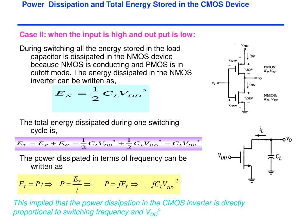 Power  Dissipation and Total Energy Stored in the CMOS Device