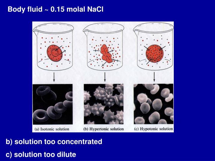 Body fluid ~ 0.15 molal NaCl