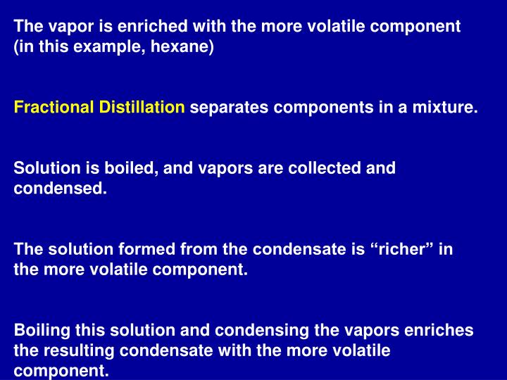 The vapor is enriched with the more volatile component (in this example, hexane)