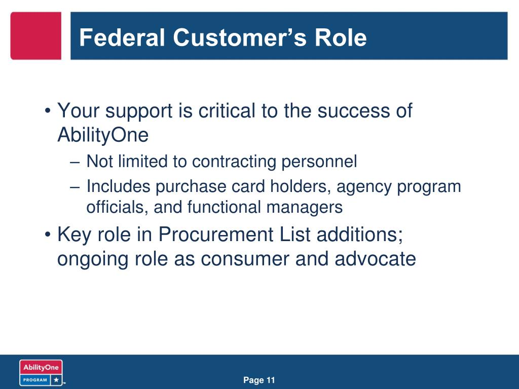 Federal Customer's Role