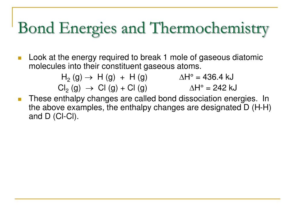 Bond Energies and Thermochemistry