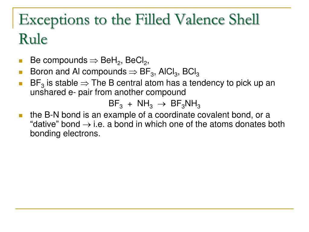 Exceptions to the Filled Valence Shell Rule