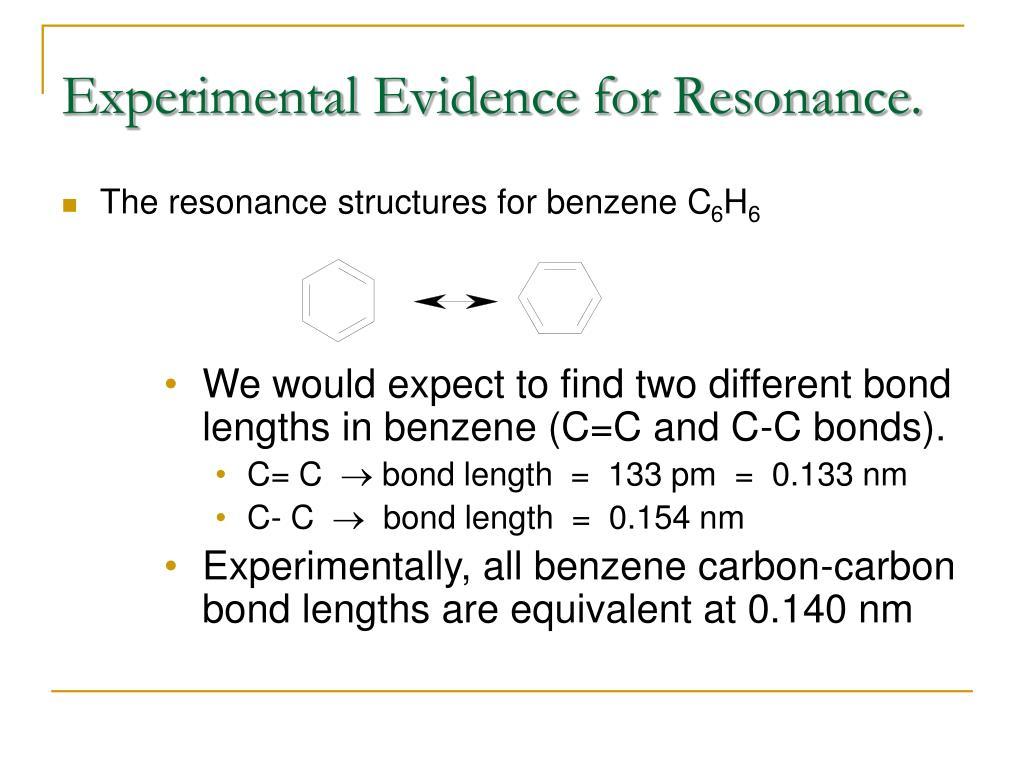 Experimental Evidence for Resonance.