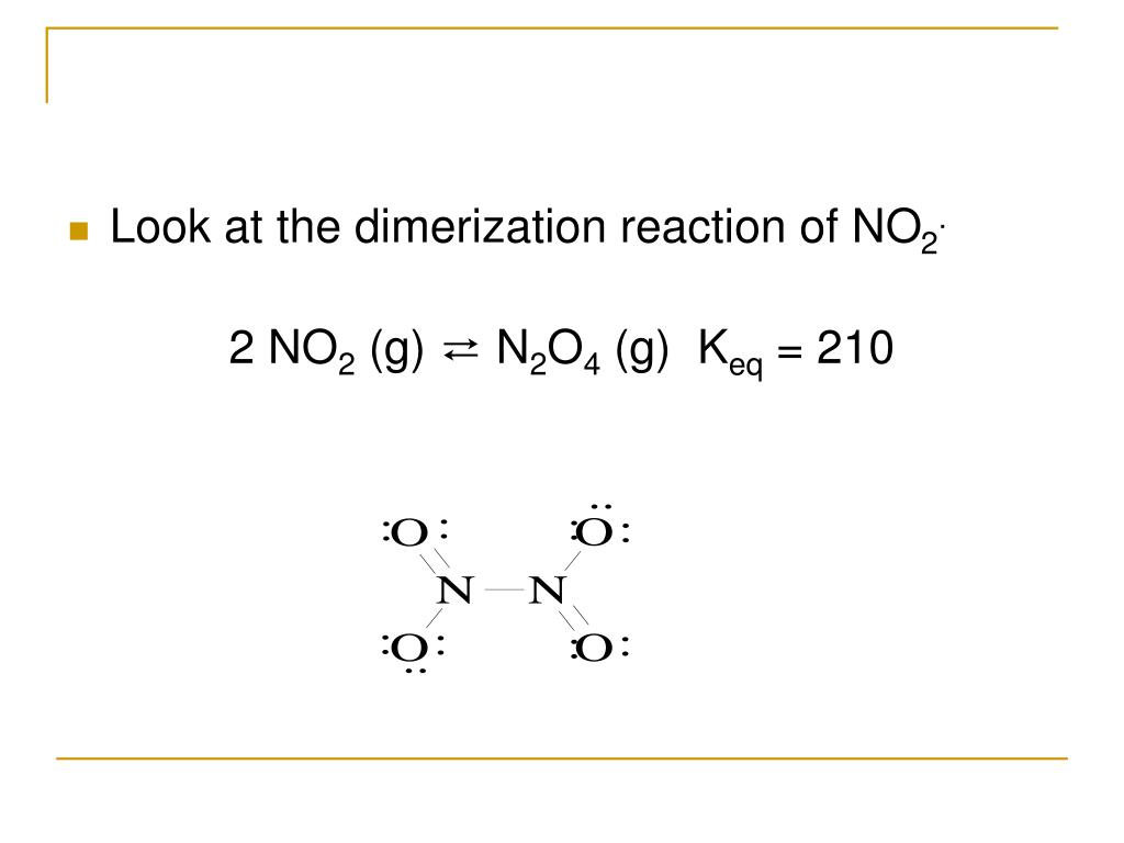 Look at the dimerization reaction of NO