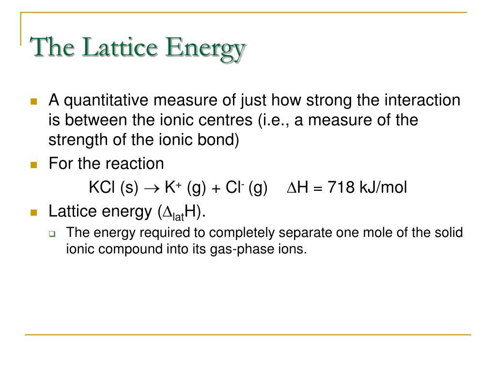 The Lattice Energy