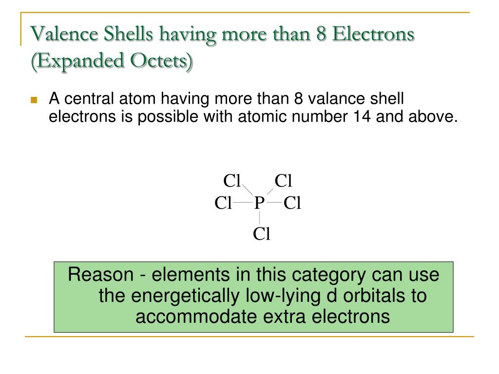 Valence Shells having more than 8 Electrons (Expanded Octets)