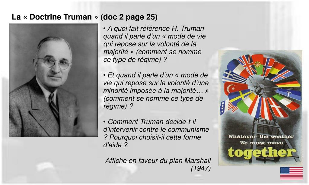 La « Doctrine Truman » (doc 2 page 25)