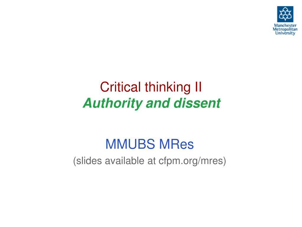 Critical thinking II