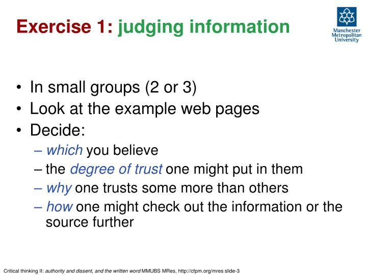 Exercise 1 judging information