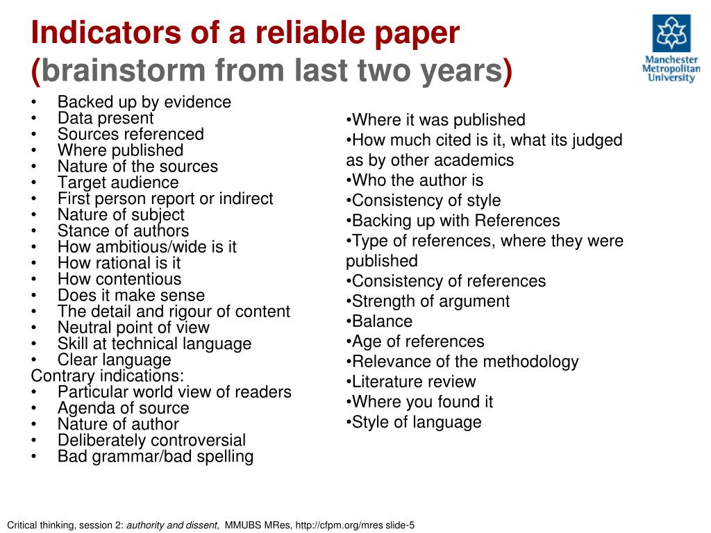 Indicators of a reliable paper (