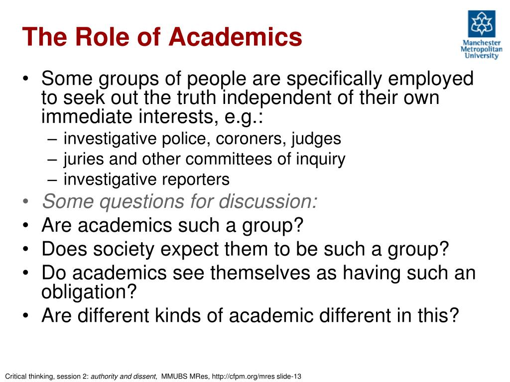 The Role of Academics