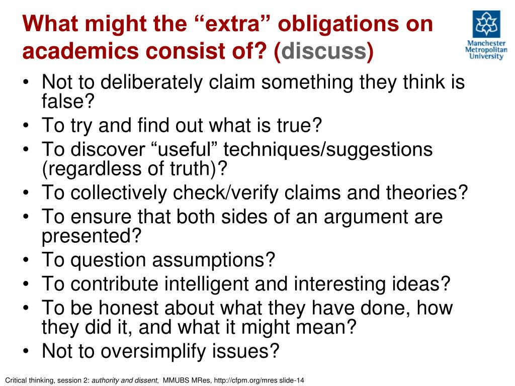 """What might the """"extra"""" obligations on academics consist of? ("""