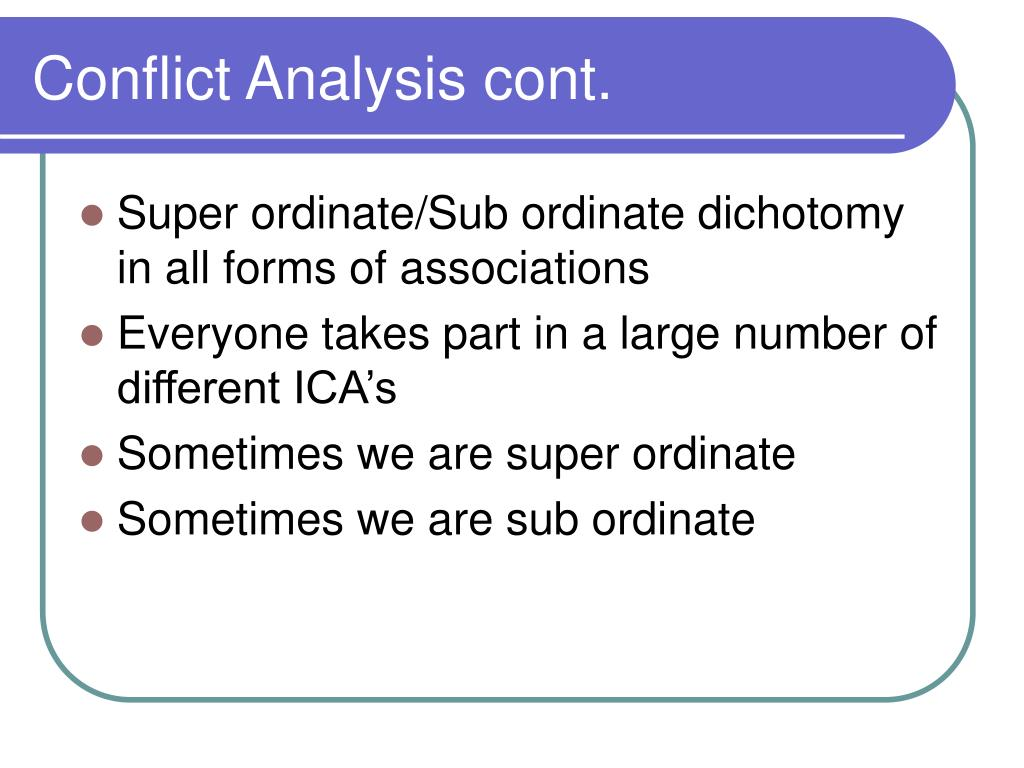 Conflict Analysis cont.