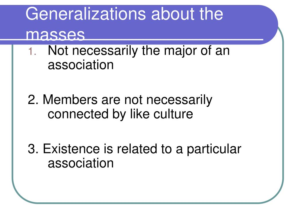 Generalizations about the masses