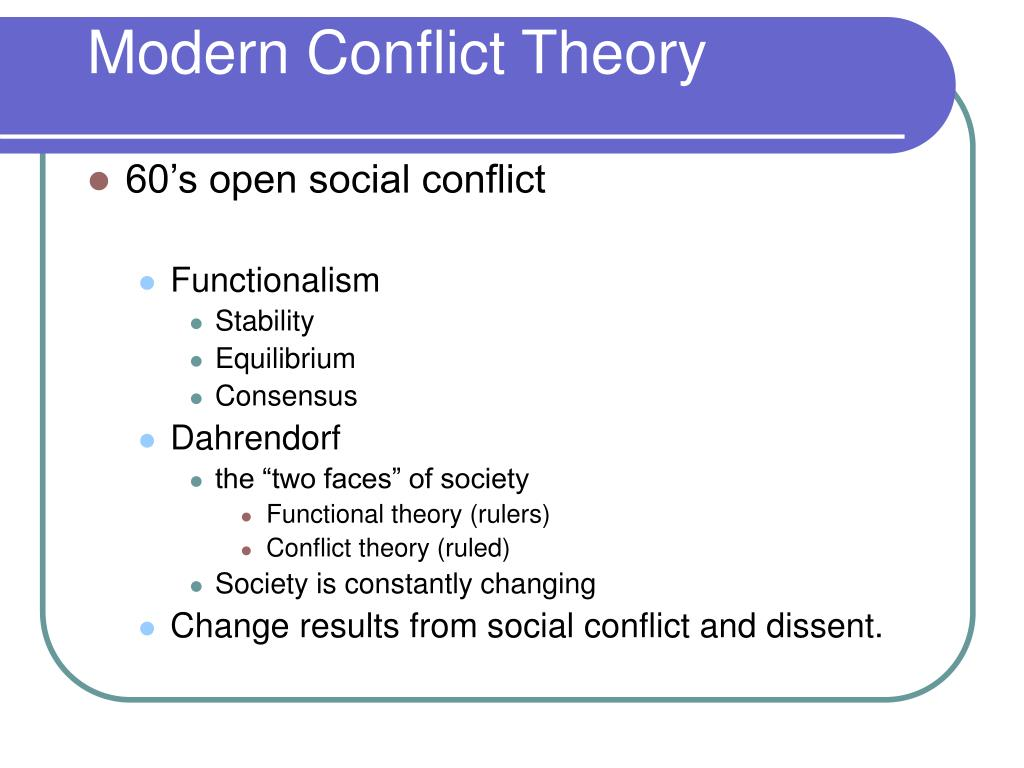 Modern Conflict Theory