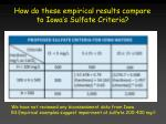 how do these empirical results compare to iowa s sulfate criteria