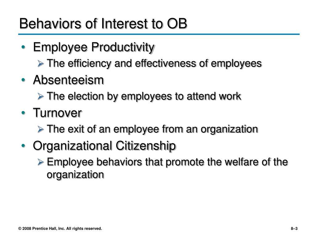 Behaviors of Interest to OB