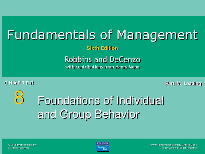 Foundations of individual and group behavior