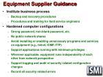 equipment supplier guidance