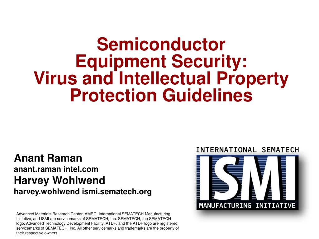 semiconductor equipment security virus and intellectual property protection guidelines l.