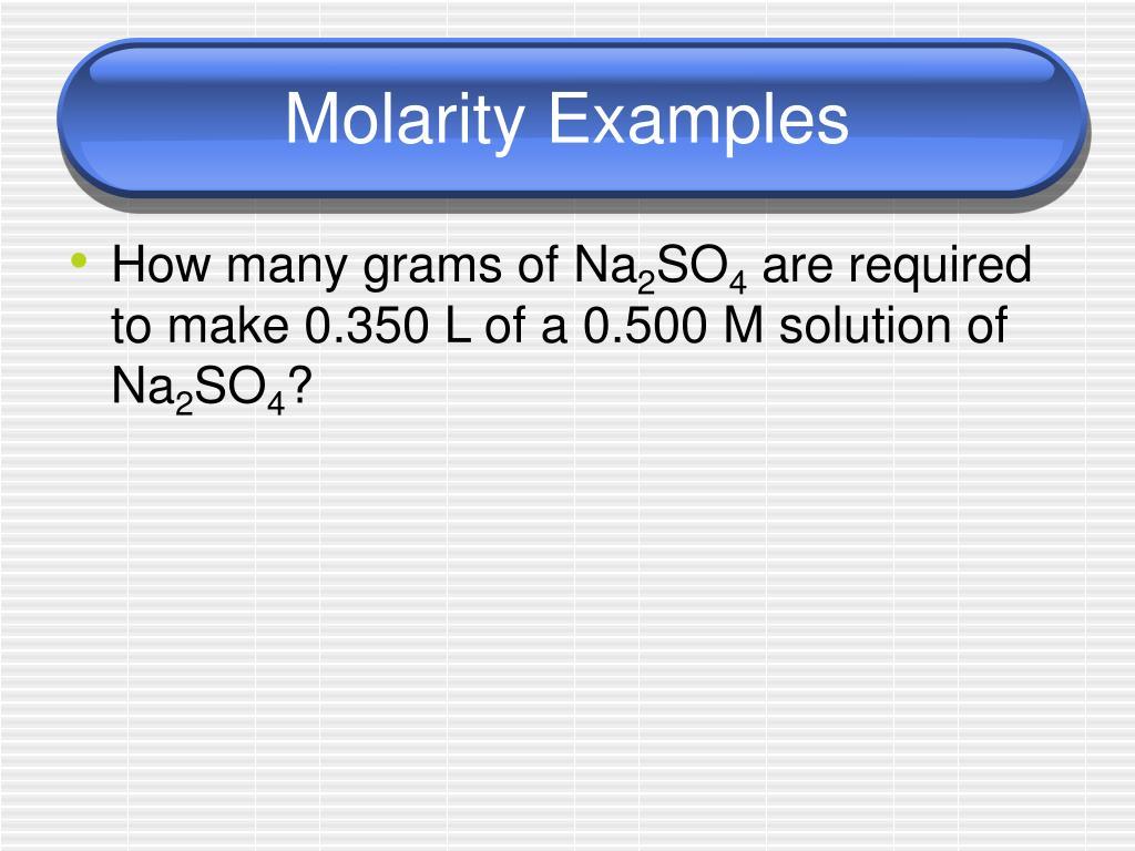 Molarity Examples