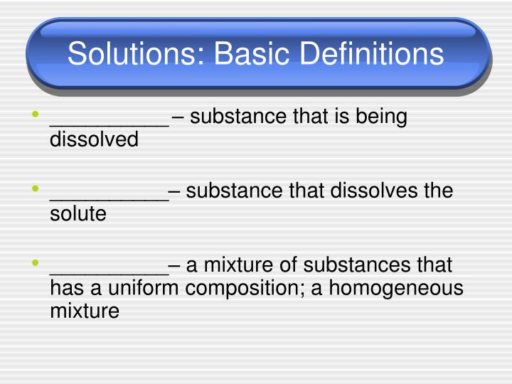 Solutions basic definitions