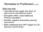 remedies to proliferation cont d