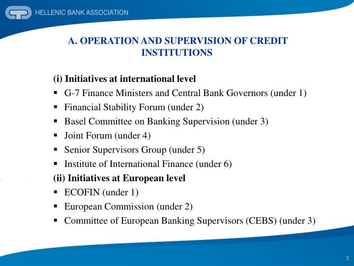 A operation and supervision of credit institutions