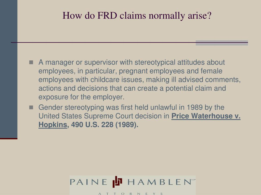 How do FRD claims normally arise?
